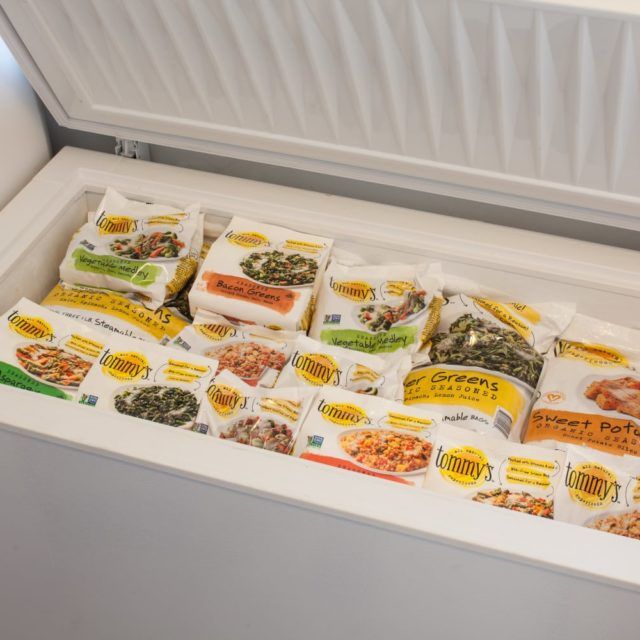 bags of Tommy's in a freezer
