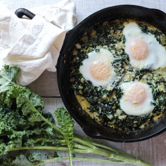 Creamed Kale with Eggs