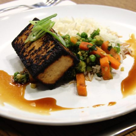 Vegetarian Grilled Tofu with Tommy's Vegetable Medley Stir Fry & Basmati Rice