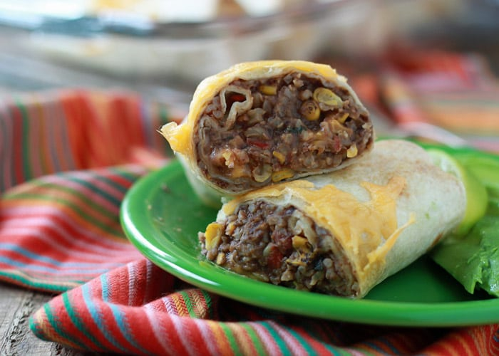 Refried Bean and Cheese Burritos with Optional Chicken