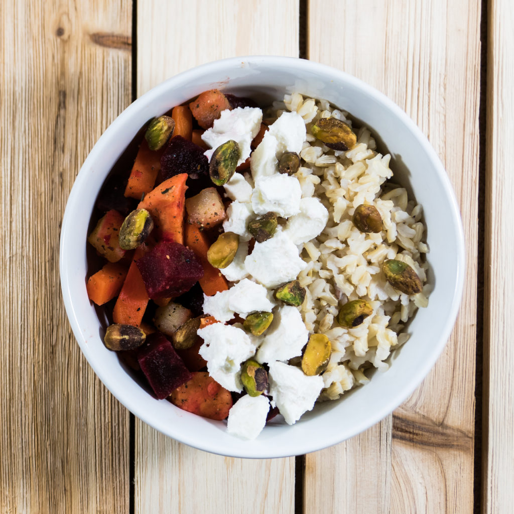 root fusion brown rice and pistachios bowl
