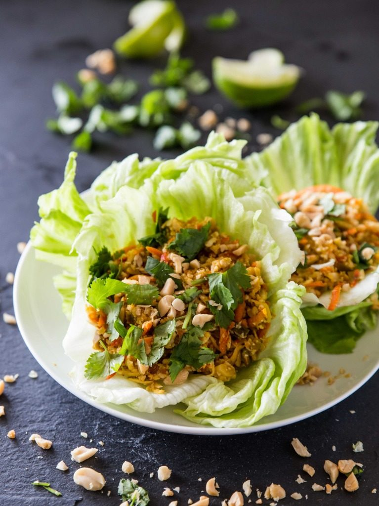 cauliflower rice lettuce cups