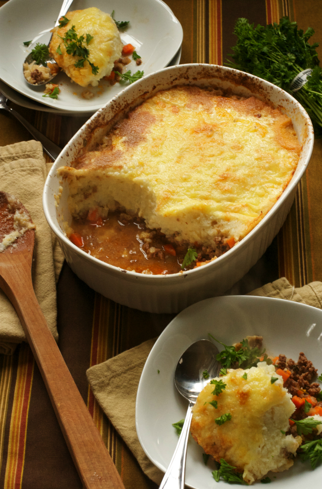 Sheppards Pie with Cauliflower topping