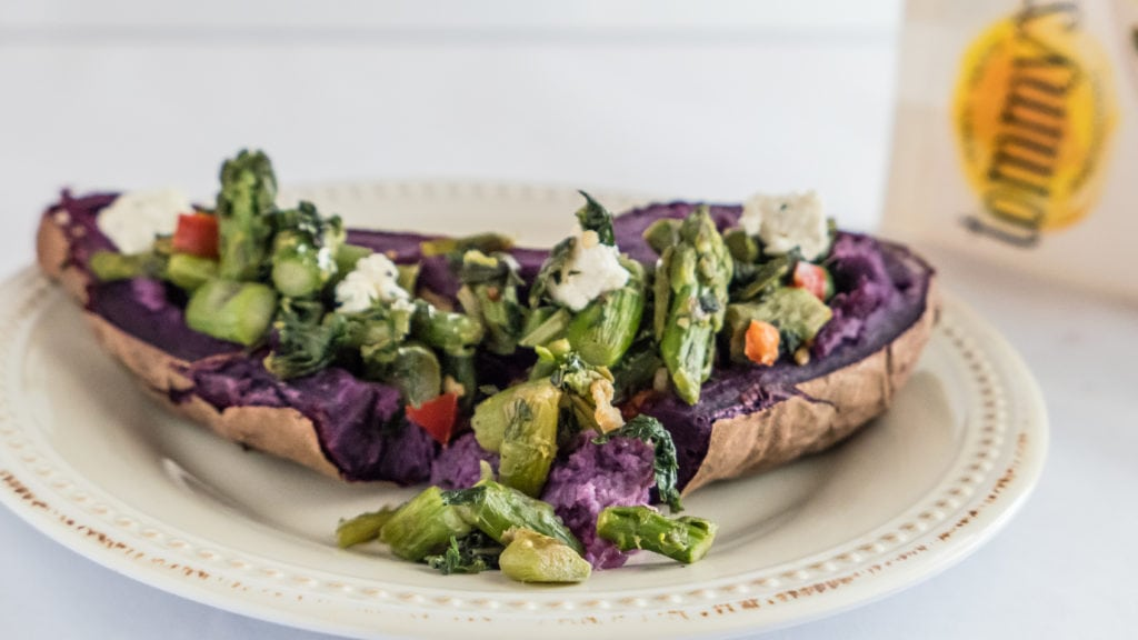 loaded baked purple potato