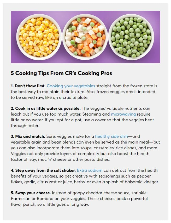 consumer reports 5 cooking tips for frozen vegetables