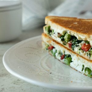 Asparagus and Kale Goat Cheese Grilled Cheese