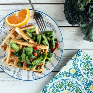 Savory Waffles with Tommys Asparagus and Kale