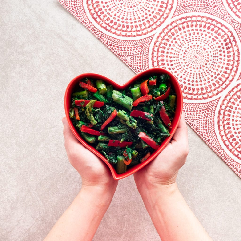 Valentine's day asparagus and kale