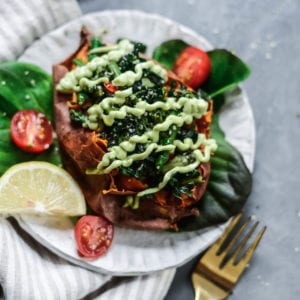 asparagus and kale stuffed sweet potato