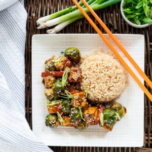 Sesame Brussels Sprouts Tofu Brown Rice
