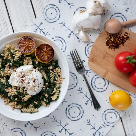 Super Greens & Chickpea Fusilli with Burrata