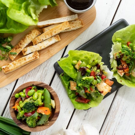 Asian Fusion Tofu Lettuce Wraps