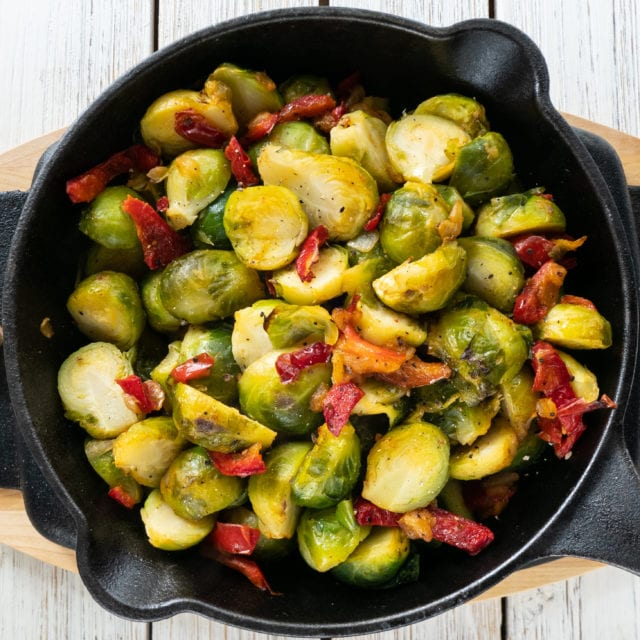 brussels sprouts in skillet